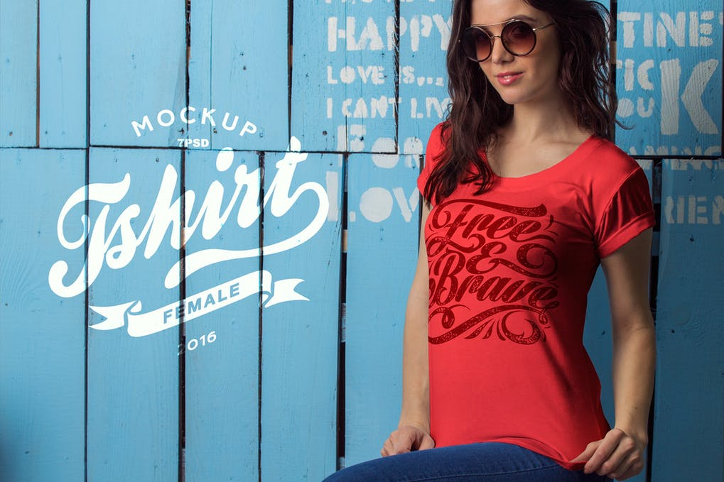 A Female Model In A Red Colored T-shirt Mockup.