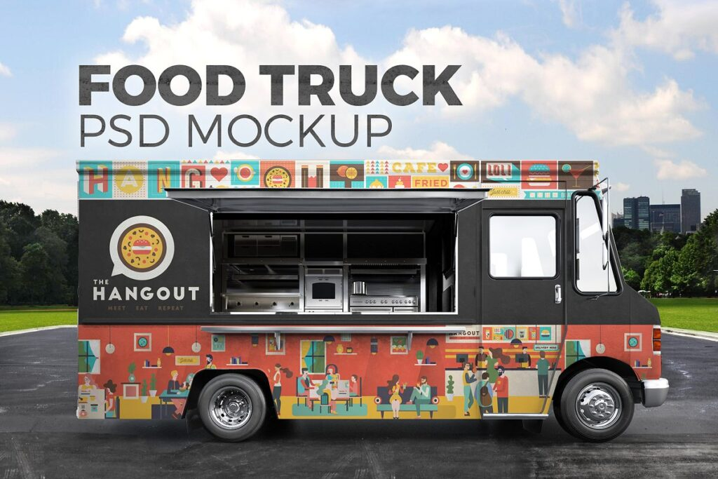 A Food Truck On the Road PSD Template.