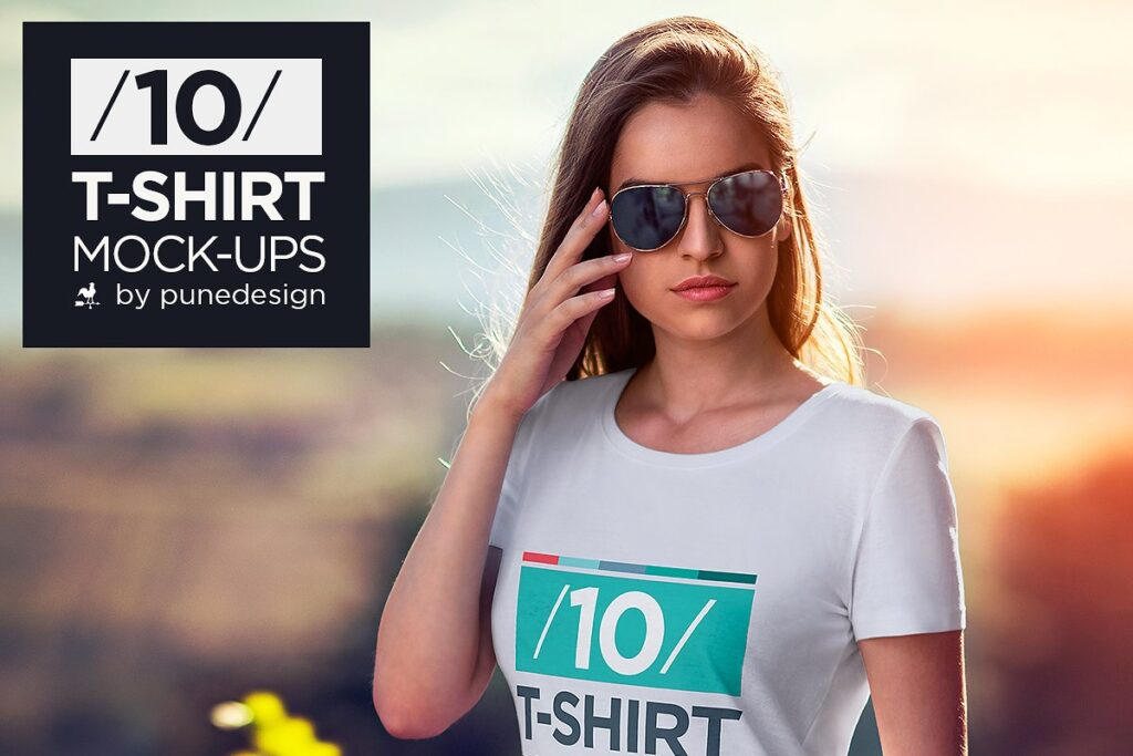A Girl In Sun Glasses And White Colored T-shirt Mockup.