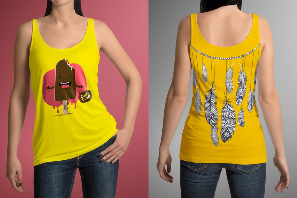 A Girl In Yellow Colored T-shirt Mockup PSD.