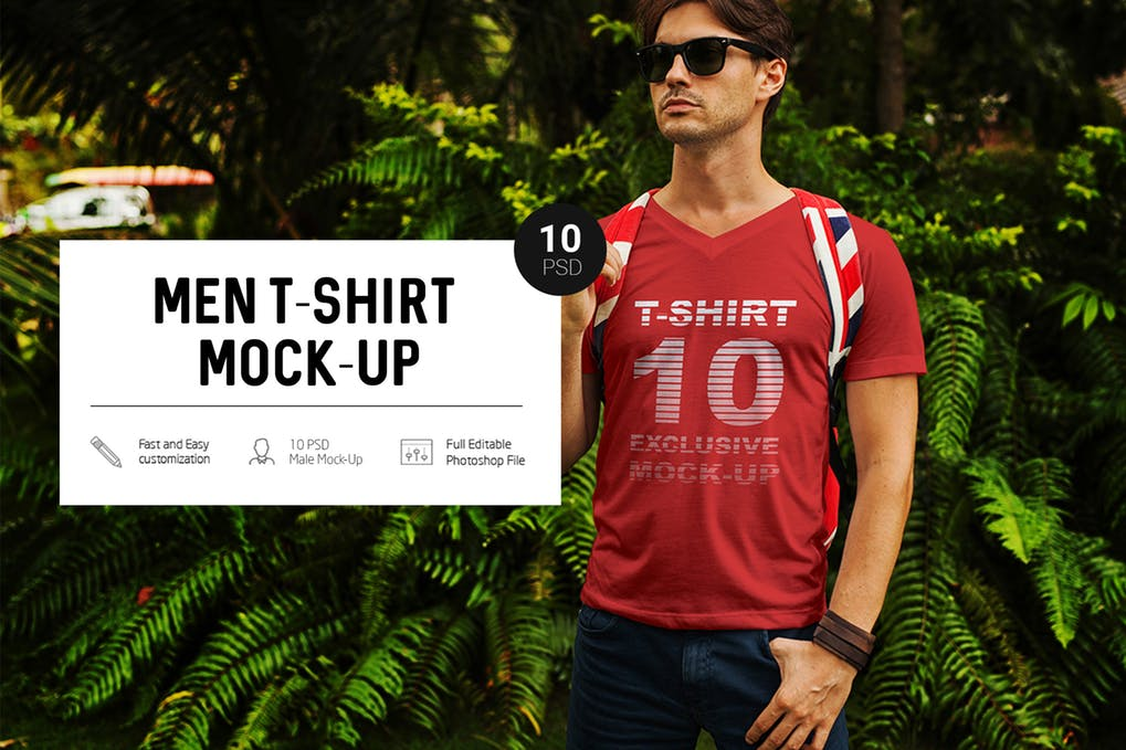 A Man Standing In A Park Wearing A Red Colored T-shirt Mockup.