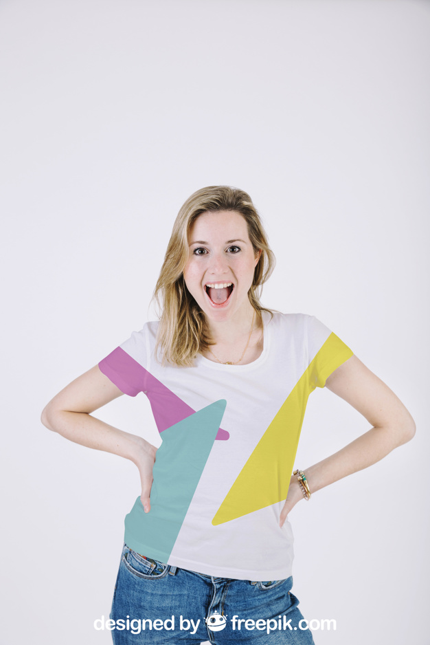 A Model Girl In Multicolored T-shirt Mockup.
