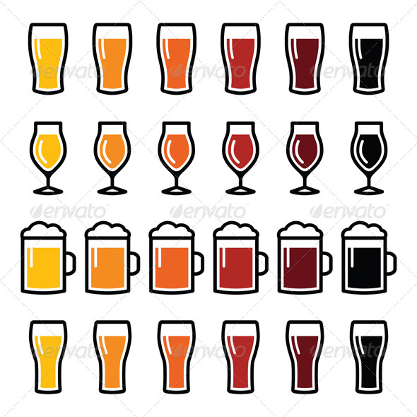 A Set Of Different Beer Glasses Vector Illustration