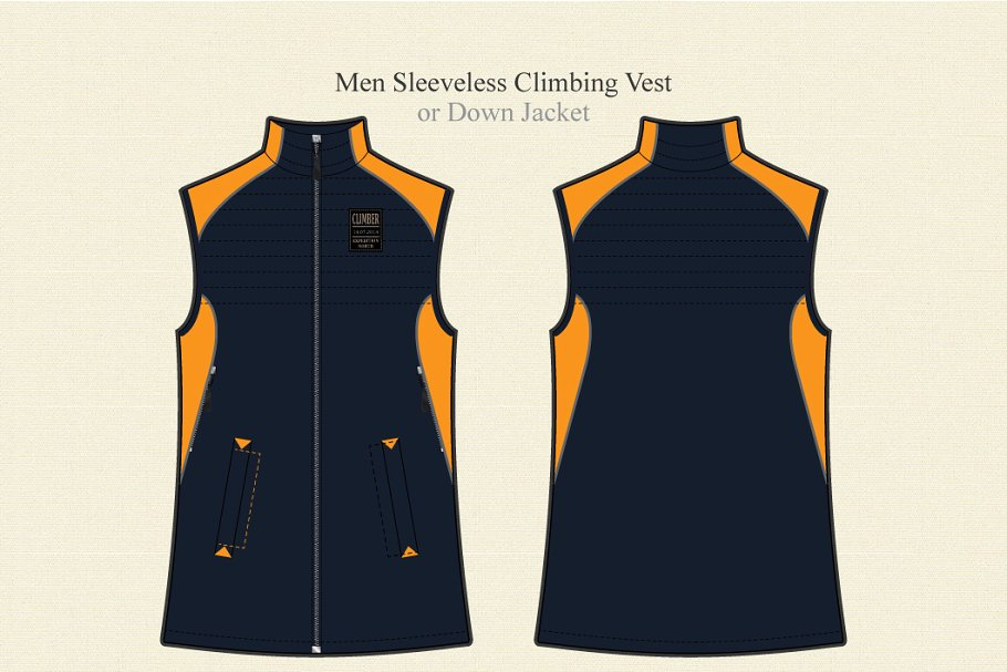 A Vector Presentation of Sleeveless Men's Climbing Vest.