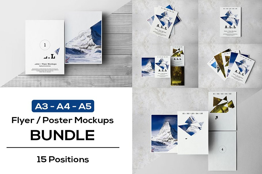 A3, A4 And A5 Size Poster And Flyer Mockup