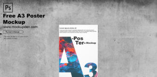 Free A3 Poster Mockup PSD Template