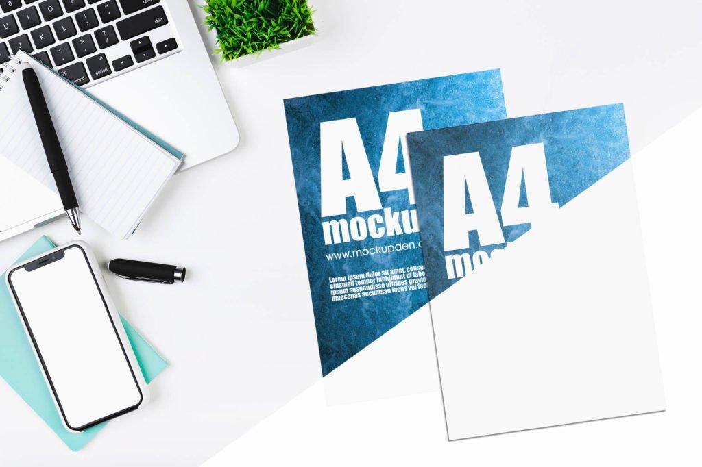Free A4 Paper Mockup Set PSD Template