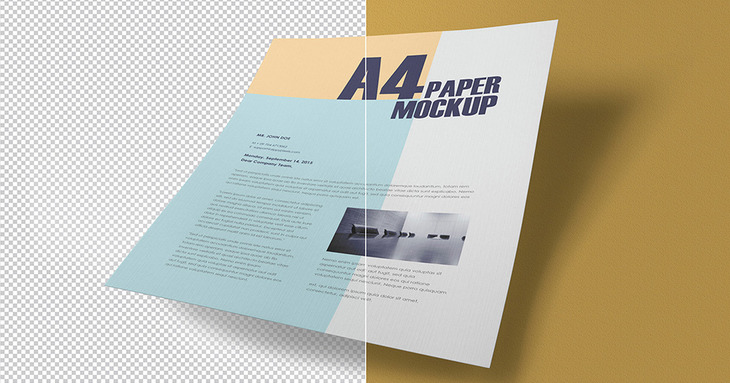 A4 Textured Paper Realistic PSD Template
