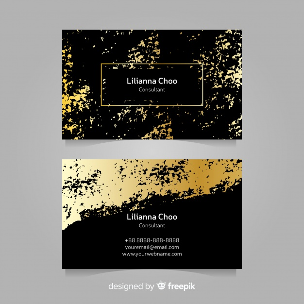 Abstract Black And Golden Print Two Business Card Mockup