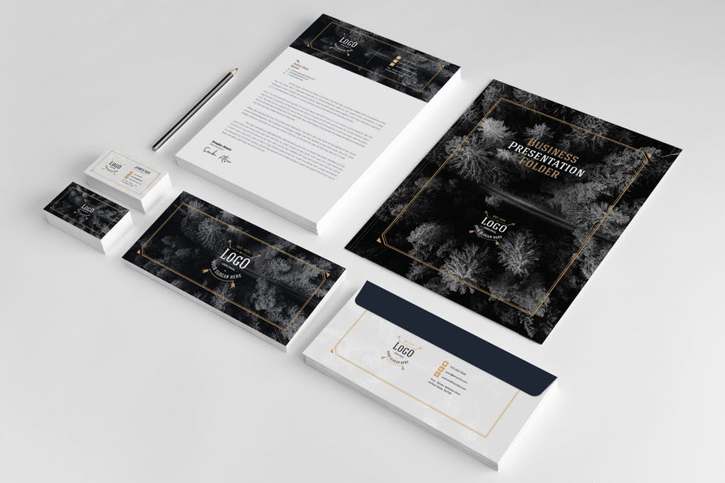 Abstract Print Business Card And Letterhead Mockup