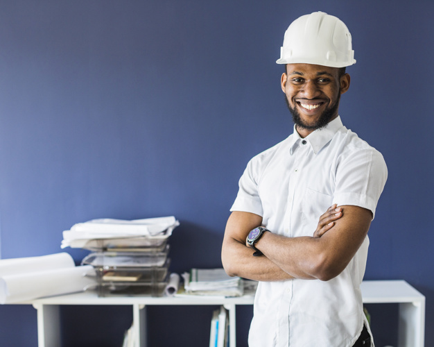 Afro-American Engineer Photo Wearing White Helmet
