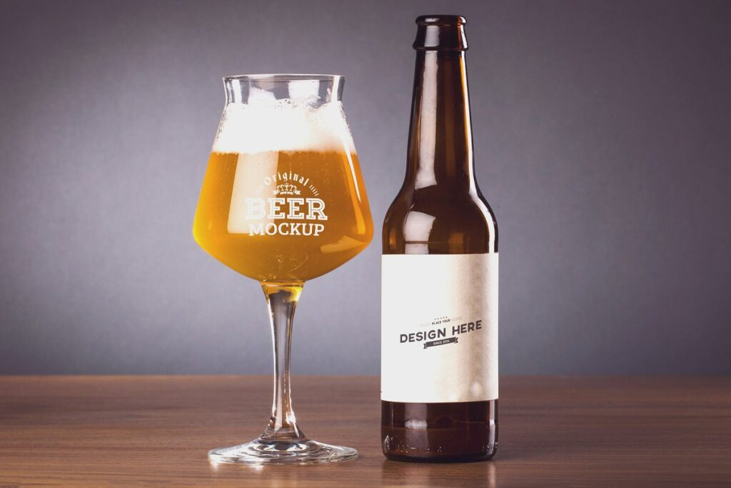 Amazing Design Beer Glass And Bottle Beside Mockup