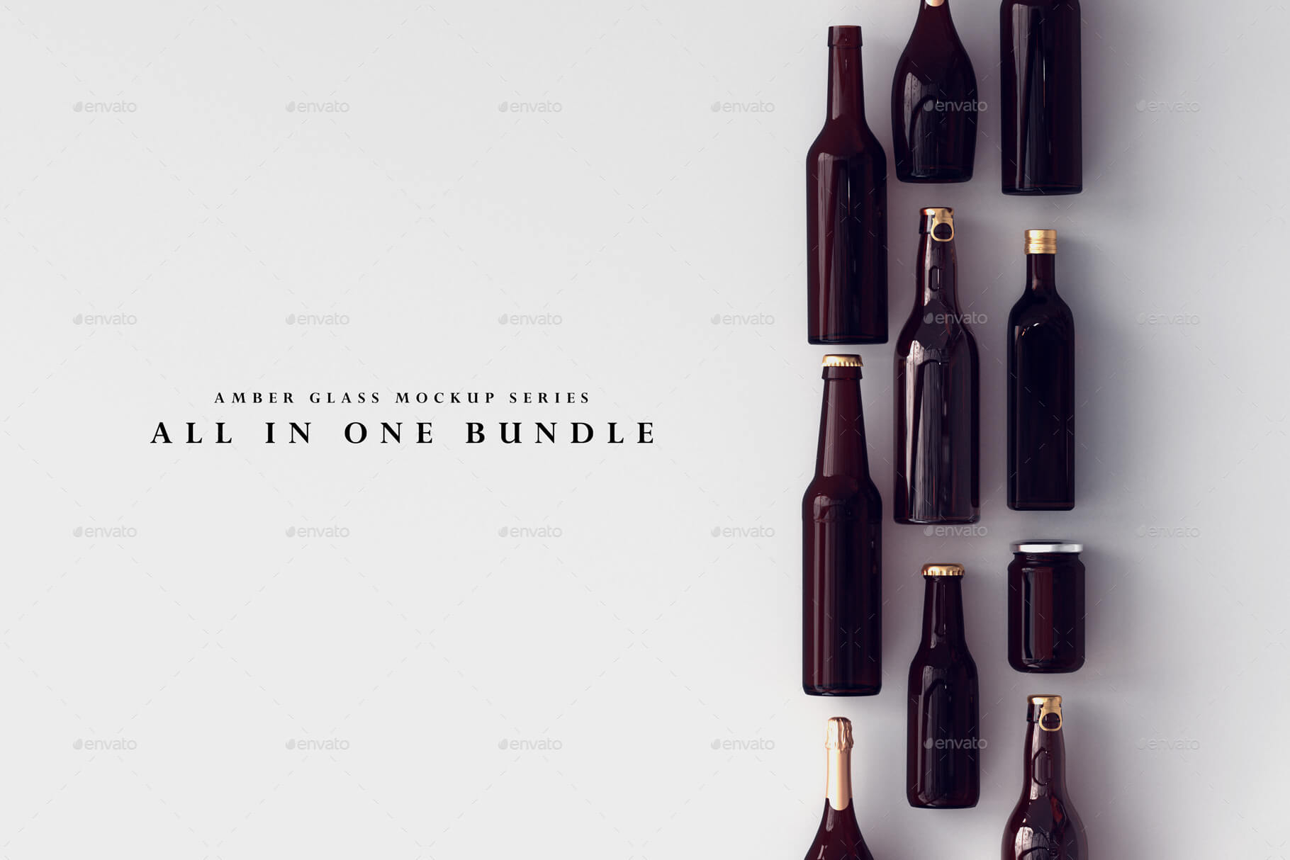 Amber Glass Bottle Mockup Bundle