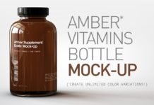 Amber Supplement Bottle Mock-Up