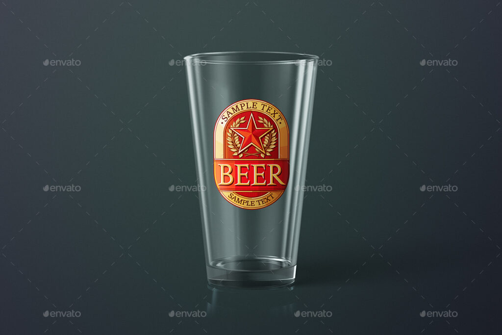 An Empty Beer Glass With American Print PSD.