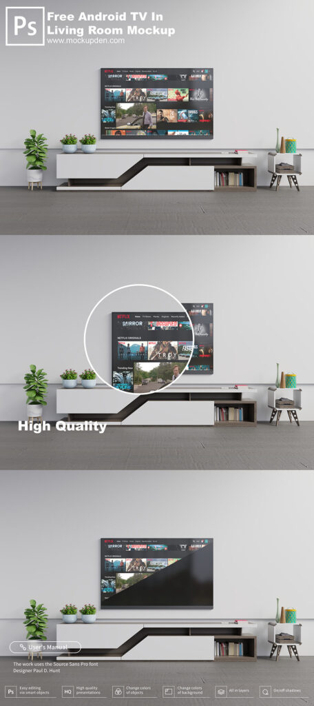 Free Android TV In Living Room Mockup PSD Template