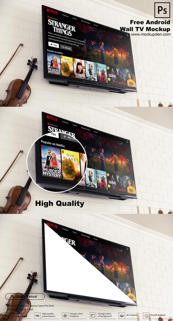 Free Android Wall TV Mockup PSD Template