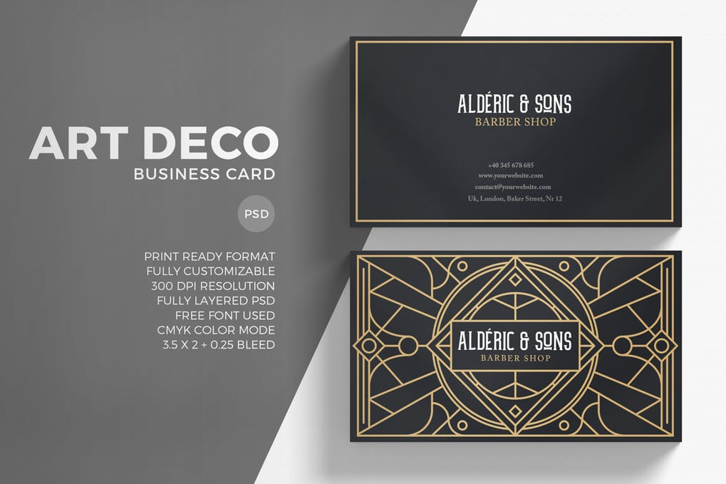 Art Deco Business CArd Illustration In PSD Format