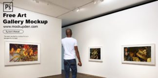 Free Art Gallery Mockup PSD Template