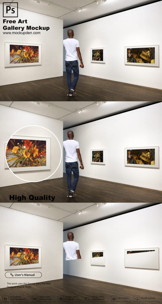 Free Art Gallery Mockup PSD Template