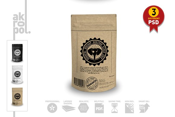 Artistic Design Tri-Color Packaging Bag Mockup