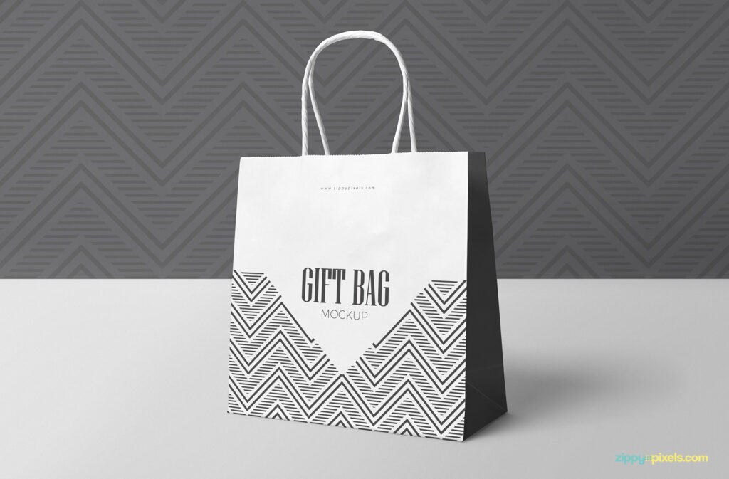 Attractive Black And white Gift Bag Design Template in PSD