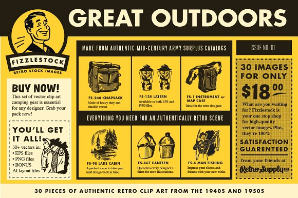 Authentic Outdoor Retro Clip Art PSD