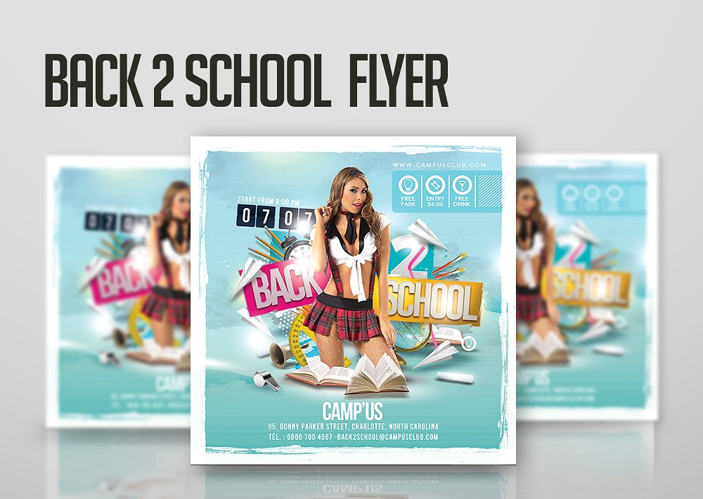 Back To School Creative Square Flyer Mockup With Thick White Border Surrounded