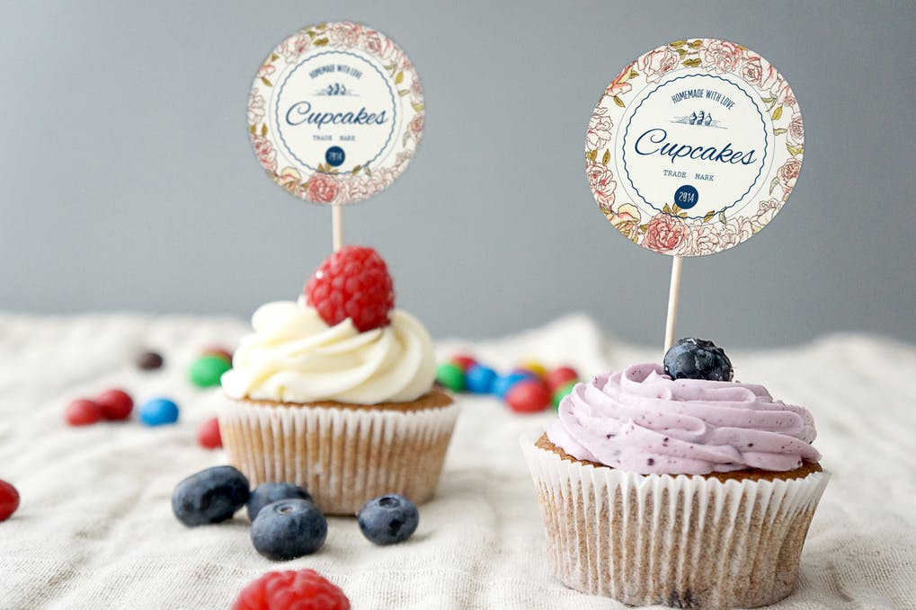 Bakery Cupcakes with toppings Mockup PSD