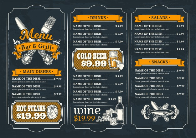 Bar And Grill menu Card Mockup