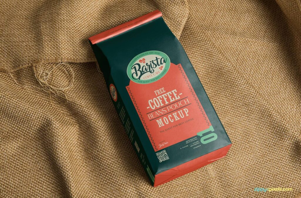 Barista Coffee Packaging Bag Mockup