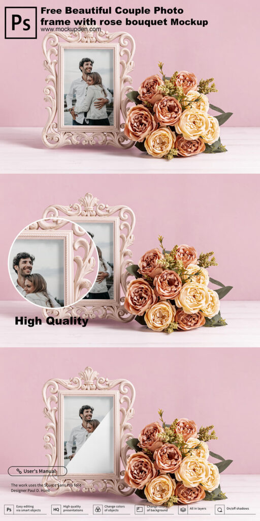 Free Beautiful Couple Photo Frame With Rose Bouquet Mockup PSD Template