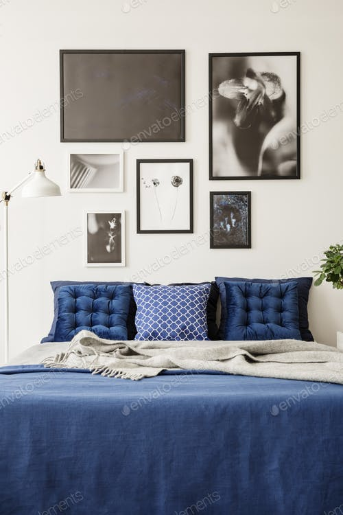 Bed And Wall Gallery Scene Illustration With Photo Frame Attach On It