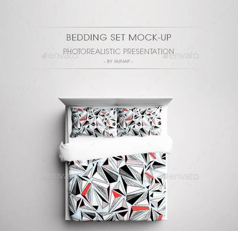 Bed Pillow Set Photorealistic Presentation