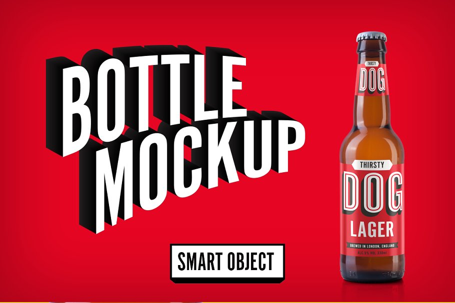Beer Bottle For Branding PSD Mockup