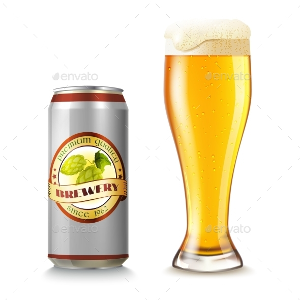 Beer Can And Glass Illustration