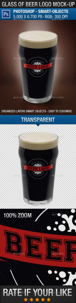 Beer Glass With Editable Logo Feature Mockup