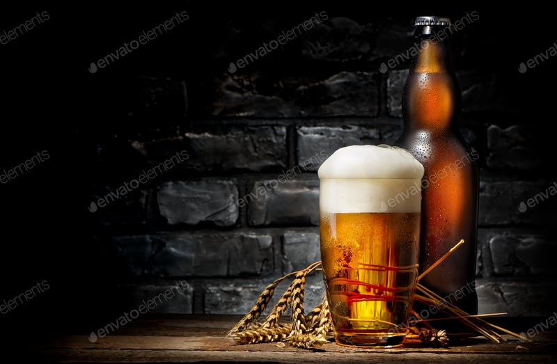 Beer In Glass With Transparent Bottle PSD Mockup