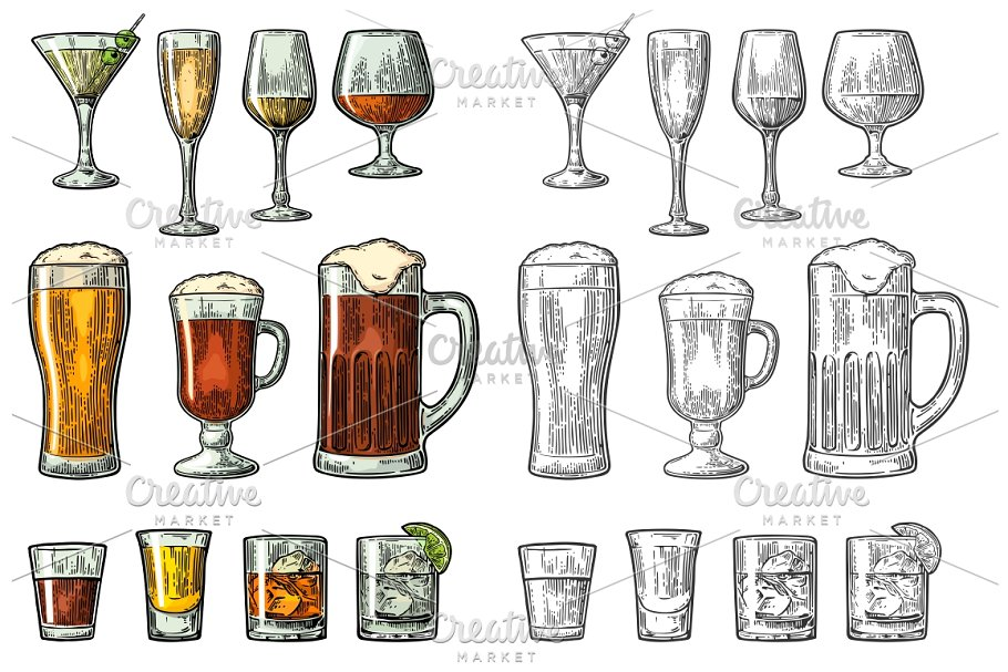 Beer Whisky And Wine Glass Vector File Illustration