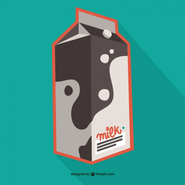 Bi-Color Milk carton Image In Vector File Format