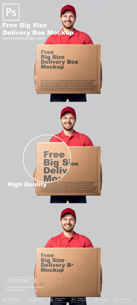 Free Big Size Delivery Box Mockup PSD Template