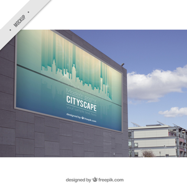 Billboard On Building Wall Mockup