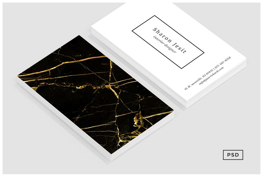 Black And White Abstract Golden Print Business Card Mockup