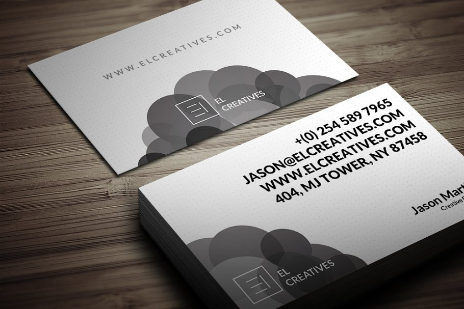Black And White Color Circles Printed Business Card Mockup
