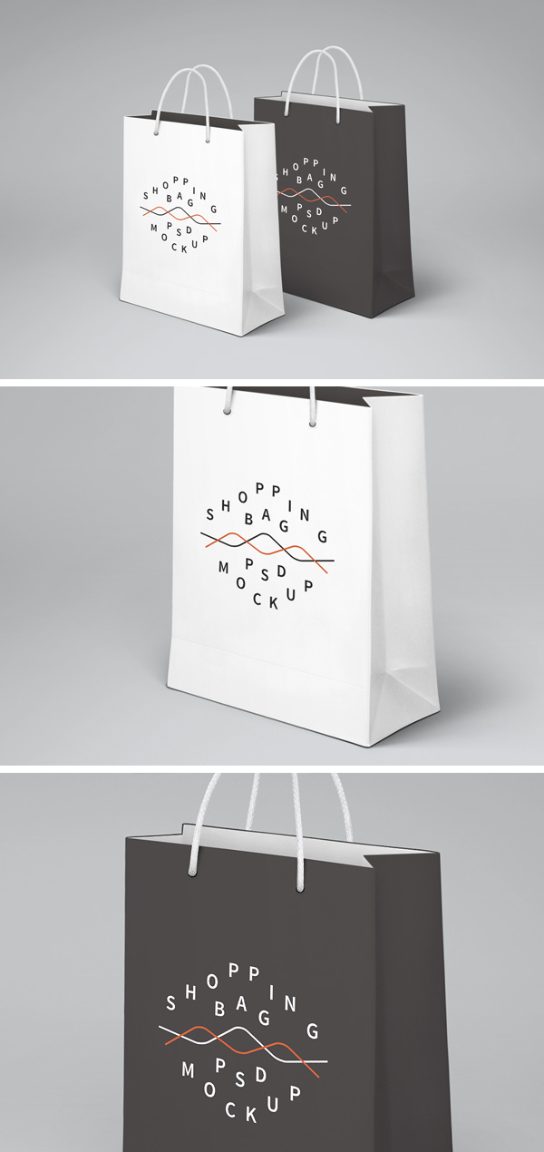 Black And White Color Paper Bag Mockup