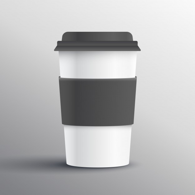 Black And White Label Attach Paper Cup Vector File Illustration