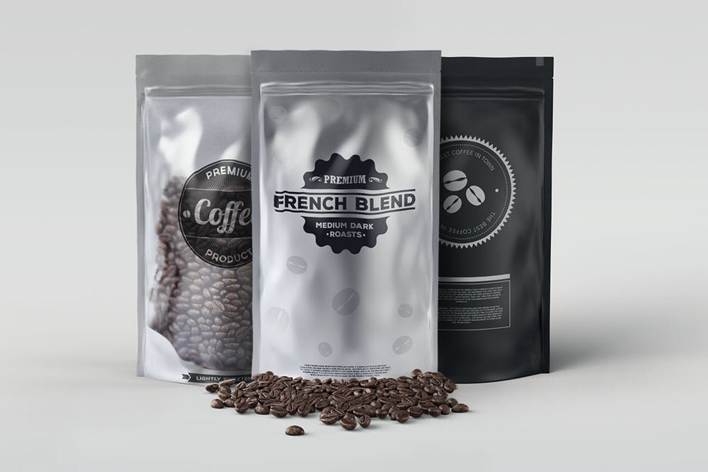 Black Coffee Packaging Bag Mockup