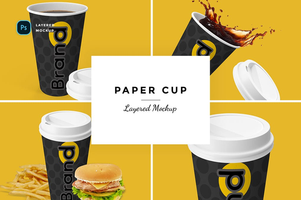 Black Color Paper Cup With Cold Coffee Mockup