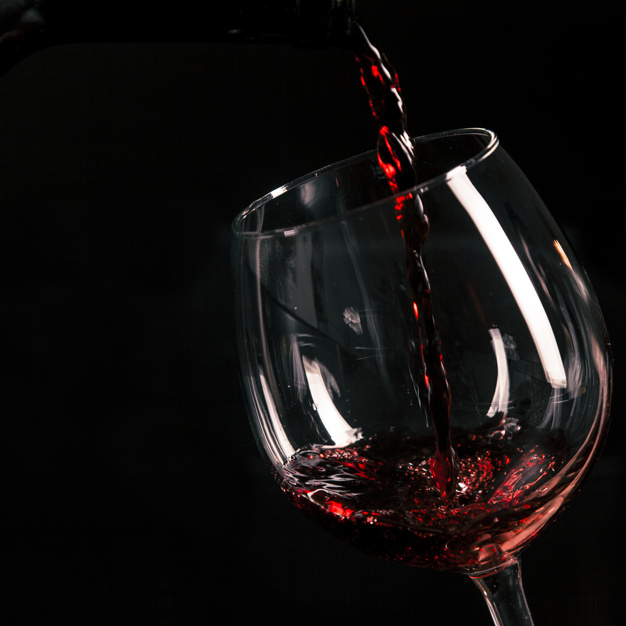 Black Color Scene Of A red Wine Glass Illustration