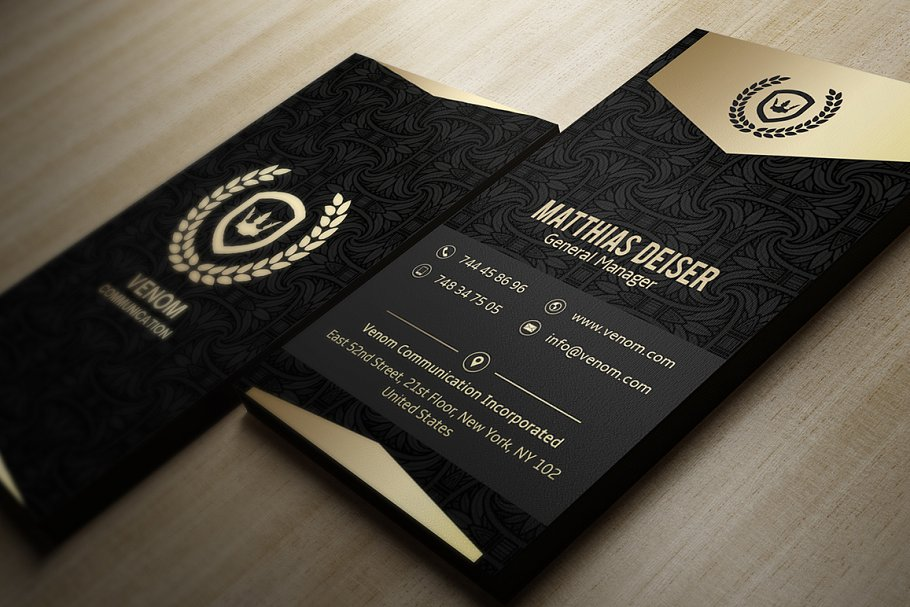 Black Color Slim Pattern Print Business Card Along With Logo